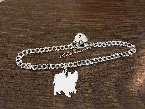 Papillon charm on a z curb bracelet solid sterling silver